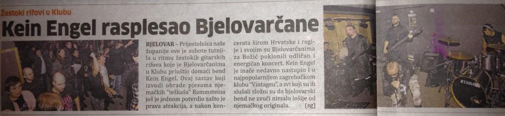 Izvještaj sa koncerta - Klub Bjelovar 14.12.2013., Bjelovarski list