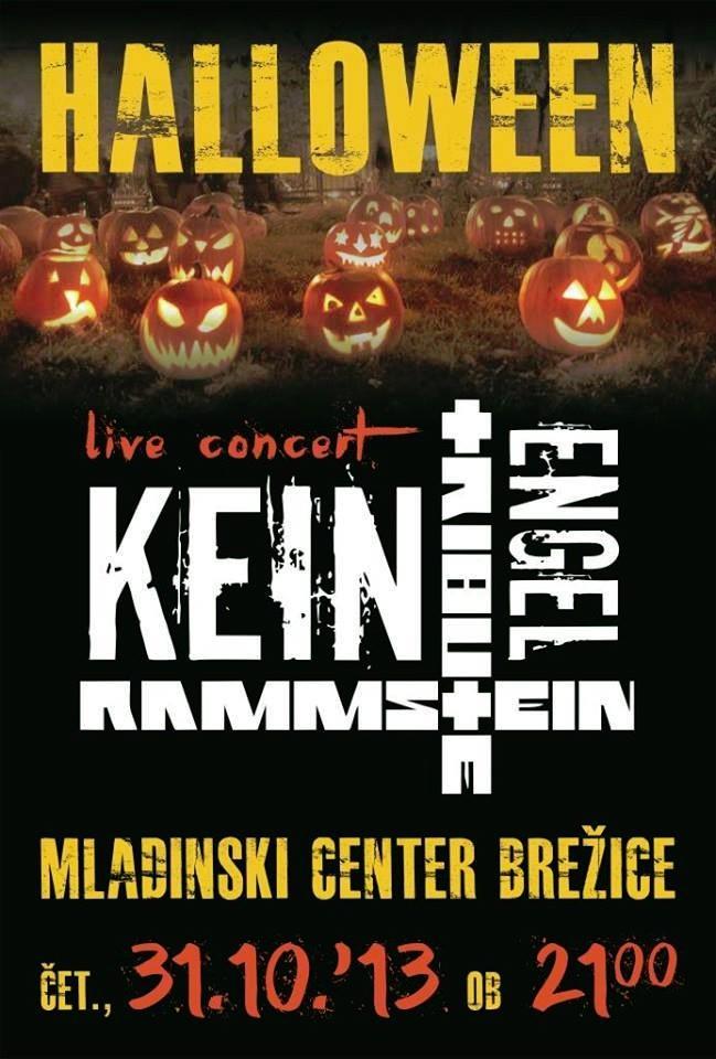 Najava koncerta – Halloween party in koncert Kein Engel Rammstein tribute band, Brežice, Slovenija, 31.10.2013.