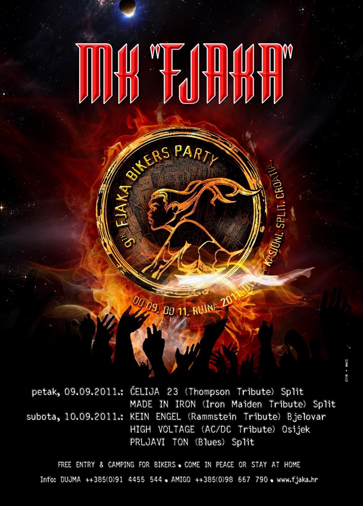 Najava koncerta - 9 th Fjaka Bikers Party, Uvala Kašjuni, Split, 10.09.2011.